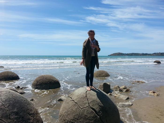 Gemma on a boulder